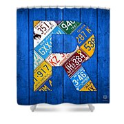 Letter R Alphabet Vintage License Plate Art Shower Curtain by Design Turnpike