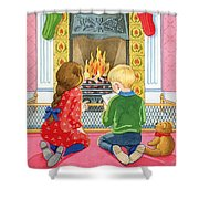 Letter To Father Christmas Shower Curtain by Lavinia Hamer