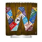 Letter W Alphabet Vintage License Plate Art Shower Curtain