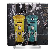 Letterboxes Da Vinci And Laughter Shower Curtain