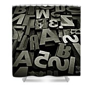 Letters And Numbers Gray Tones Shower Curtain
