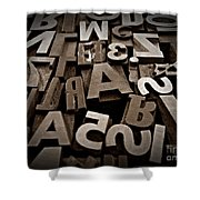 Letters And Numbers Sepia 2 Shower Curtain