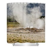 Letting Off Steam - Yellowstone Shower Curtain
