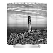 Levant To Pendeen View Black And White Shower Curtain