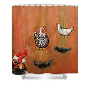 Levitating Chickens Shower Curtain