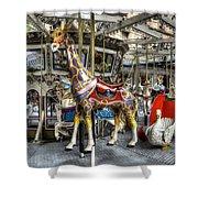 Levitating Giraffe Shower Curtain