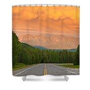 Liard River Valley Alaska Highway Bc Canada Sunset Shower Curtain