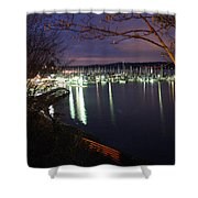 Liberty Bay At Night Shower Curtain