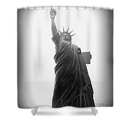 Liberty In Black And White Shower Curtain