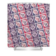 Liberty Stamps Collage Shower Curtain