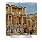 Library Of Celsus In Ephesus-turkey Shower Curtain