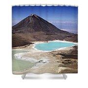 Licancabur Volcano And Laguna Verde Shower Curtain