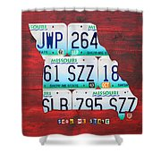 License Plate Map Of Missouri - Show Me State - By Design Turnpike Shower Curtain by Design Turnpike