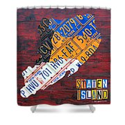 License Plate Map Of Staten Island New York Nyc Shower Curtain