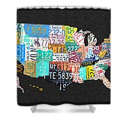 License Plate Map Of The United States On Gray Felt With Black Box Frame Edition 14 Shower Curtain