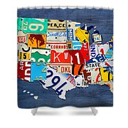 License Plate Map Of The United States - Small On Blue Shower Curtain