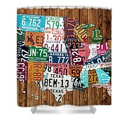 License Plate Map Of The United States - Warm Colors On Pine Board Shower Curtain by Design Turnpike