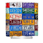 License Plates Of The Usa - Our Colorful American History Shower Curtain