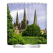 Lichfield Cathedral From The Garden Shower Curtain