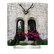 Lichtenstein Castle Windows Wall And Antlers - Germany Shower Curtain