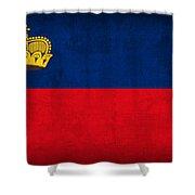 Liechtenstein Flag Vintage Distressed Finish Shower Curtain