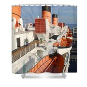Life Boats 01 Queen Mary Ocean Liner Port Long Beach Ca Shower Curtain