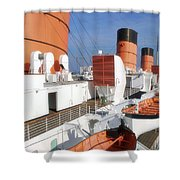 Life Boats 02 Queen Mary Ocean Liner Port Long Beach Ca Shower Curtain