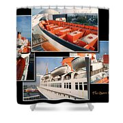 Life Boats Collage Queen Mary Ocean Liner Long Beach Ca Shower Curtain