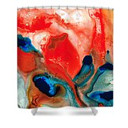 Life Force - Red Abstract By Sharon Cummings Shower Curtain by Sharon Cummings