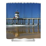 Life Guard Station Reflection On Ocean Sand At Huntington Beach City Pier Fine Art Photography Print Shower Curtain