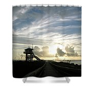 Life Guard Tower And Jetty At Dawn 9-27-14 By Julianne Felton Shower Curtain