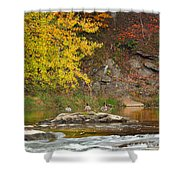 Life On The River Square Shower Curtain