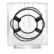 Life Preserver In Black And White Shower Curtain