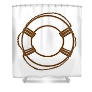 Life Preserver In Brown And White Shower Curtain