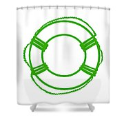 Life Preserver In Green And White Shower Curtain