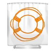 Life Preserver In Orange And White Shower Curtain