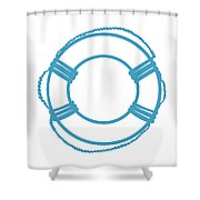 Life Preserver In Turquoise And White Shower Curtain