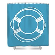 Life Preserver In White And Turquoise Blue Shower Curtain