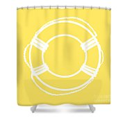 Life Preserver In White And Yellow Shower Curtain