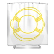 Life Preserver In Yellow And Whtie Shower Curtain