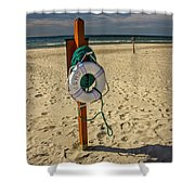 Life Preserver On The Beach In Pentwater Michigan Shower Curtain