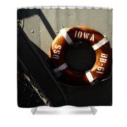 Life Ring Uss Iowa Battleship Sepia Shower Curtain