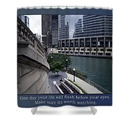 Life Will Flash Before Your Eyes Blue Background Shower Curtain