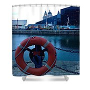 Lifebelt At Albert Dock Shower Curtain
