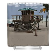 Lifeguard Station IIi Abstract Shower Curtain