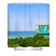 Lifeguard Station In Miami Shower Curtain