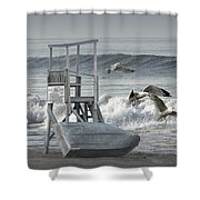 Lifeguard Station With Flying Gulls At A Lake Huron Beach Shower Curtain
