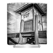 Lifeguard Tower 10 Newport Beach Hdr Picture Shower Curtain