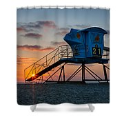 Lifeguard Tower At Sunset Shower Curtain by Peter Tellone