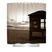 Lifeguard Tower Sunrise In Sepia Shower Curtain